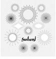 set of vintage sunbursts hand-drawn hipster design vector image