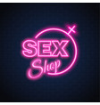 sex shop neon sign gender woman symbol vector image vector image