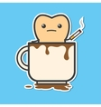 Tooth in cup of coffee with cigarette vector image vector image