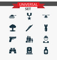 warfare icons set with soldier binoculars tank vector image vector image