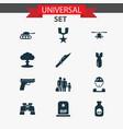 warfare icons set with soldier binoculars tank vector image