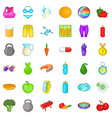 wellness diet icons set cartoon style vector image vector image