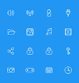 white line web icon set vector image