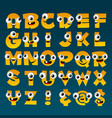 yellow cartoon alphabet vector image