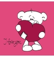 Teddy bear with heart and i love you text vector image