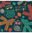 Vintage Winter Owl Pattern vector image