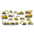 a large set of construction equipment in yellow vector image vector image