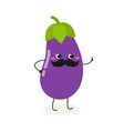 amusing mustached eggplant character vector image