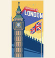 big ben london landmark with greeting word vector image vector image