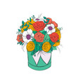 bouquet of bright flowers in hat box isolated vector image