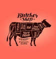 butcher shop meat cut charts beef cow steak vector image vector image