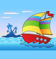 cartoon sailboat near small island vector image