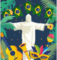 christ redeemer with party brazil banner vector image vector image