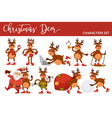 christmas deer and santa cartoon characters icons vector image vector image