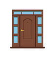 classic brown wooden entrance door to house vector image vector image