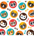 cute cats and fishbone pattern vector image vector image