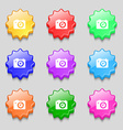 Digital photo camera icon sign symbol on nine wavy vector image vector image
