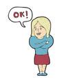digitally drawn woman said okay design hand vector image