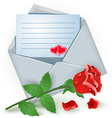 Envelope with red rose vector image
