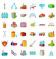 Factory icons set cartoon style