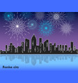 festive fireworks display over night city vector image
