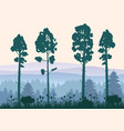 forest silhouettes trees pine fir nature vector image