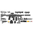 futuristic sci-fi weapon set to create a rifle vector image vector image