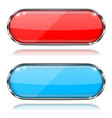 glass buttons red and blue oval 3d buttons with vector image vector image