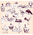 hand drawn set tableware food and drinks vector image vector image