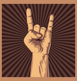 hand in rock sign background vector image vector image
