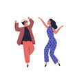happy couple dancing together having fun raising vector image vector image