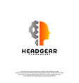 head gear logo head intelligence logo designs vector image