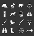 hunting icons set grey vector image vector image