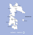 island of patmos in greece white map and blue vector image vector image