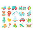 kids cartoon toys badoll train on railway vector image vector image