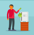 man take money from safe concept background flat vector image