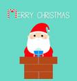 merry christmas santa claus in rochimney vector image vector image
