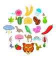 milieu icons set cartoon style vector image vector image