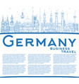 outline germany city skyline with blue buildings vector image vector image