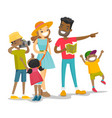 positive multiracial family traveling together vector image vector image