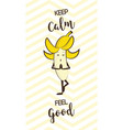 poster of cute banana doing yoga pose healthy vector image vector image