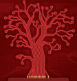Red Digital Circuit Tree vector image