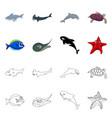 sea and animal sign set of vector image