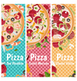 set banners for theme pizza with different vector image vector image