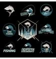 set fishing logos emblems badges vector image