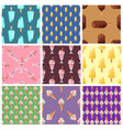 set ice cream seamless pattern background cartoon vector image