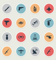 set of 16 simple army icons can be found such vector image vector image