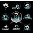 Set of fishing logos emblems badges vector image vector image