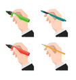 set of hands holds the marker pen and pencil vector image