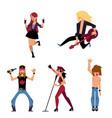 set of young rock musicians singers guitarist vector image vector image